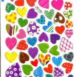 דף מדבקות לבבות (עבה)