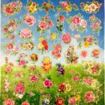 דף מדבקות פרחים גדול